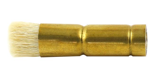 Ovaler Zuführpinsel aus Messing mit kurzem hellem Besatz und Gewinde