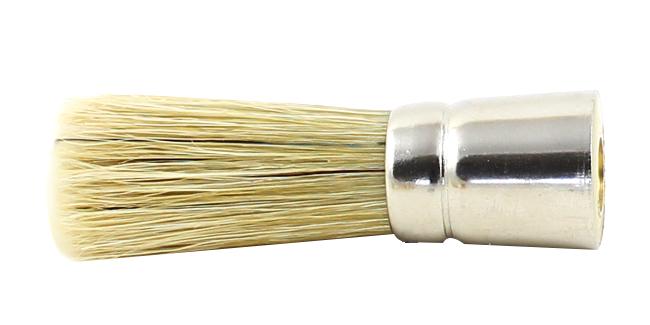 Runder Zuführpinsel mit langem hellen Besatz aus Borstenmix und Gewinde