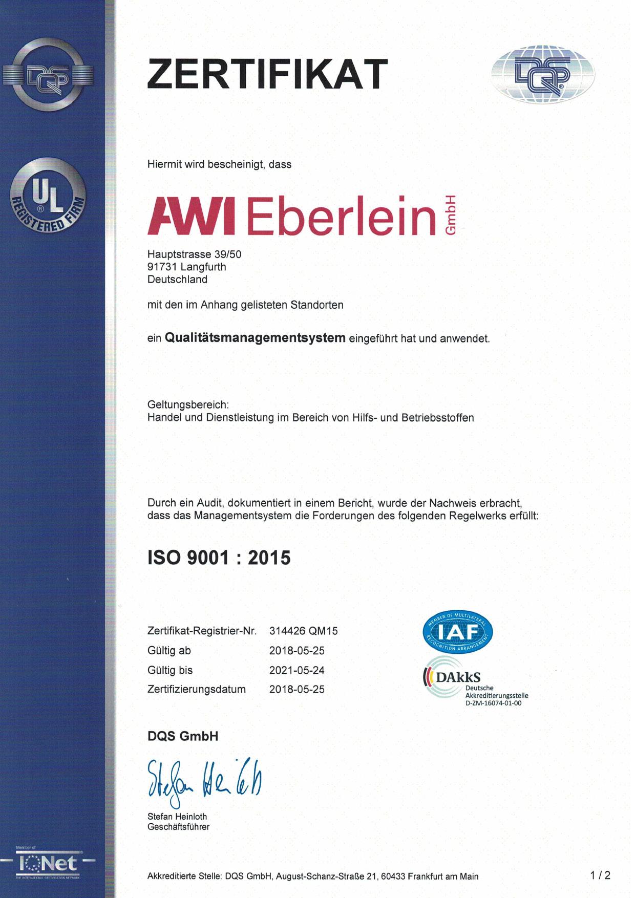 Zertifikat DIN EN ISO 9001, Seite 1