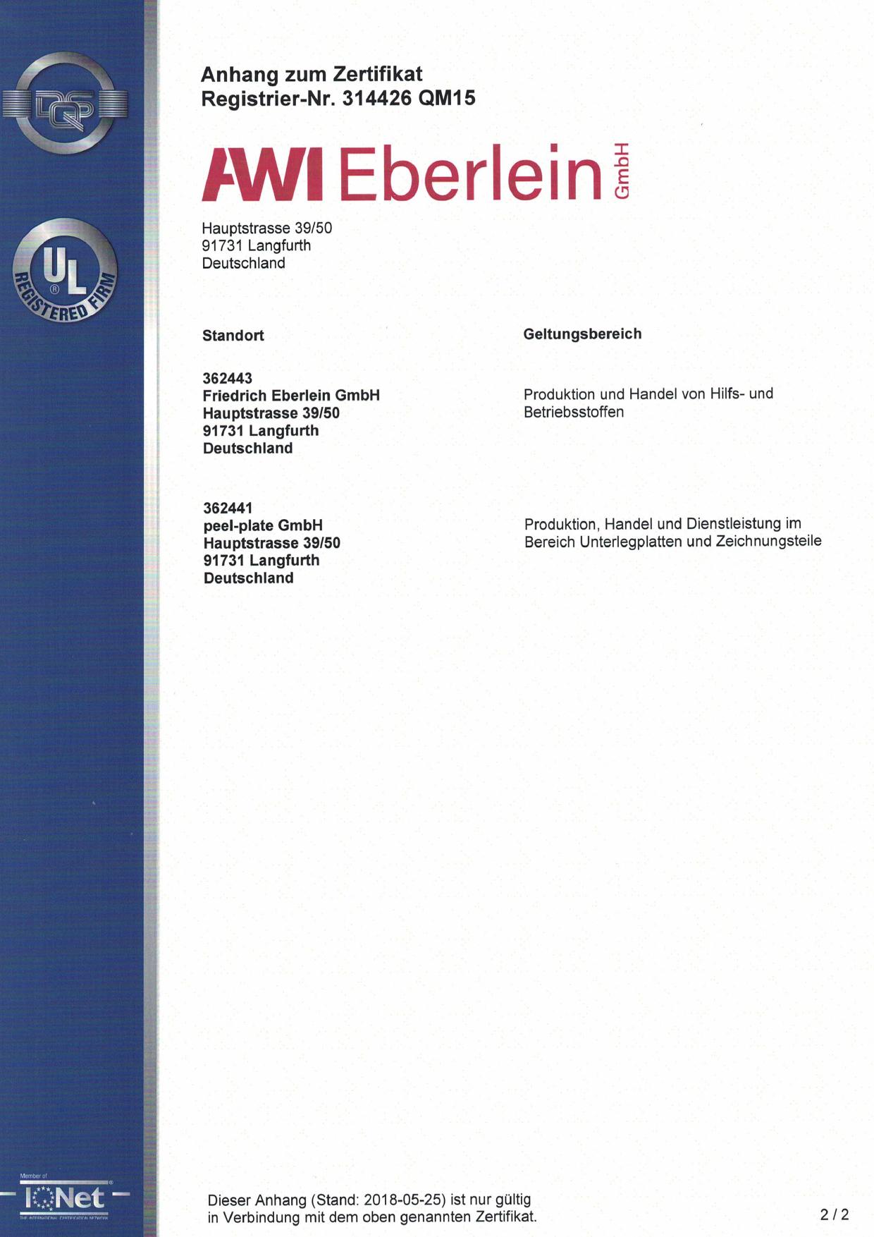 Zertifikat DIN EN ISO 9001 2015, Seite 2